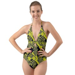 Seamless Pattern Background Halter Cut Out One Piece Swimsuit