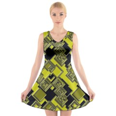 Seamless Pattern Background V Neck Sleeveless Dress