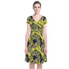 Seamless Pattern Background Short Sleeve Front Wrap Dress