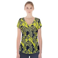Seamless Pattern Background Short Sleeve Front Detail Top