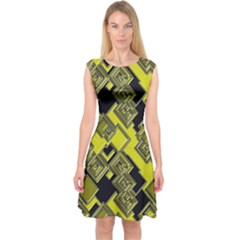 Seamless Pattern Background Capsleeve Midi Dress