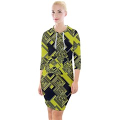 Seamless Pattern Background Quarter Sleeve Hood Bodycon Dress