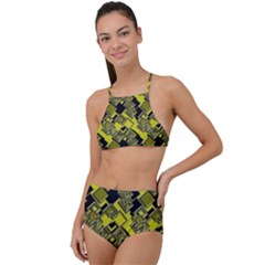 Seamless Pattern Background High Waist Tankini Set