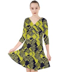 Seamless Pattern Background Quarter Sleeve Front Wrap Dress