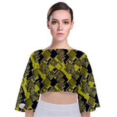 Seamless Pattern Background Tie Back Butterfly Sleeve Chiffon Top