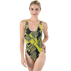 Seamless Pattern Background High Leg Strappy Swimsuit