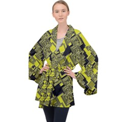 Seamless Pattern Background Long Sleeve Velvet Kimono