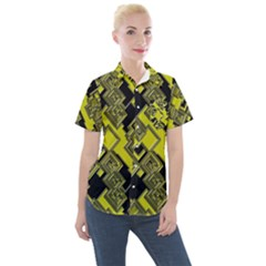 Seamless Pattern Background Women s Short Sleeve Pocket Shirt