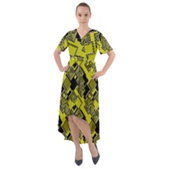 Seamless Pattern Background Front Wrap High Low Dress