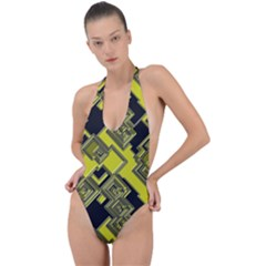 Seamless Pattern Background Backless Halter One Piece Swimsuit