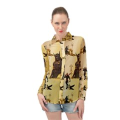 Anubis The Egyptian God Pattern Long Sleeve Chiffon Shirt by FantasyWorld7