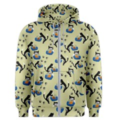 Cat And Fishbowl Men s Zipper Hoodie by bloomingvinedesign