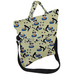Cat And Fishbowl Fold Over Handle Tote Bag by bloomingvinedesign