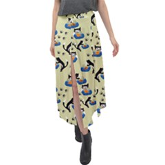 Cat And Fishbowl Velour Split Maxi Skirt by bloomingvinedesign