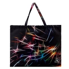 Lights Star Sky Graphic Night Zipper Large Tote Bag by HermanTelo