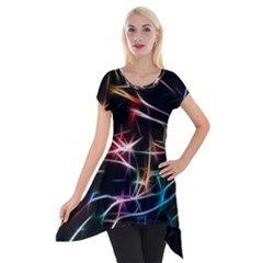 Lights Star Sky Graphic Night Short Sleeve Side Drop Tunic