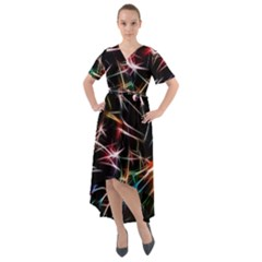 Lights Star Sky Graphic Night Front Wrap High Low Dress