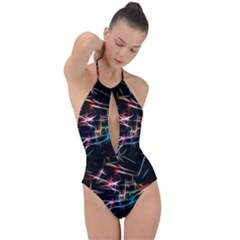 Lights Star Sky Graphic Night Plunge Cut Halter Swimsuit