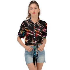 Lights Star Sky Graphic Night Tie Front Shirt