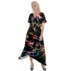 Lights Star Sky Graphic Night Cross Front Sharkbite Hem Maxi Dress by HermanTelo