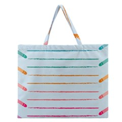 Crayon Background School Paper Zipper Large Tote Bag