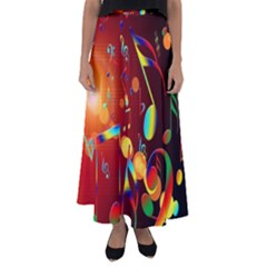 Dance Music Treble Clef Sound Flared Maxi Skirt