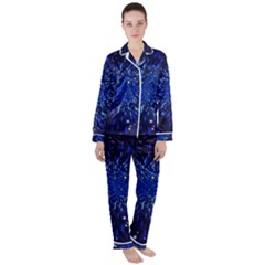 Star Universe Space Starry Sky Satin Long Sleeve Pyjamas Set