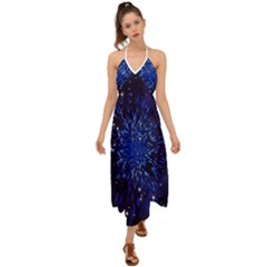 Star Universe Space Starry Sky Halter Tie Back Dress