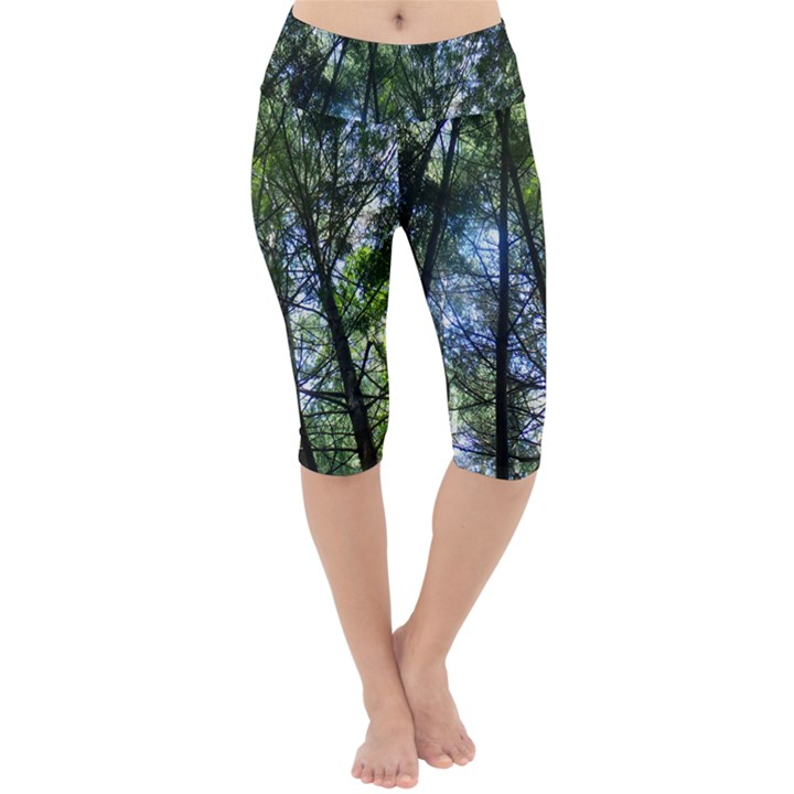 Looking at the Sky Through Trees Lightweight Velour Cropped Yoga Leggings