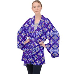 Symmetry Long Sleeve Velvet Kimono  by Sobalvarro