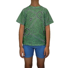 Network Communication Technology Kids  Short Sleeve Swimwear by Bajindul