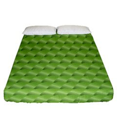 Green Pattern Ornate Background Fitted Sheet (queen Size)