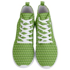 Green Pattern Ornate Background Men s Lightweight High Top Sneakers