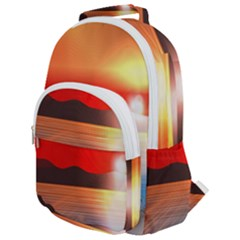 Sunset Water River Sea Sunrays Rounded Multi Pocket Backpack