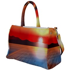 Sunset Water River Sea Sunrays Duffel Travel Bag by Mariart