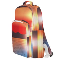 Sunset Water River Sea Sunrays Double Compartment Backpack