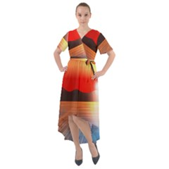 Sunset Water River Sea Sunrays Front Wrap High Low Dress