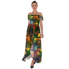 Background Bokeh Light Circle Off Shoulder Open Front Chiffon Dress by AnjaniArt