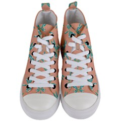 Turquoise Dragonfly Insect Paper Women s Mid Top Canvas Sneakers