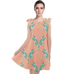 Turquoise Dragonfly Insect Paper Tie Up Tunic Dress