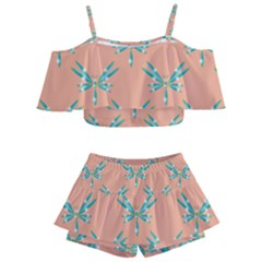 Turquoise Dragonfly Insect Paper Kids  Off Shoulder Skirt Bikini