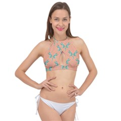 Turquoise Dragonfly Insect Paper Cross Front Halter Bikini Top