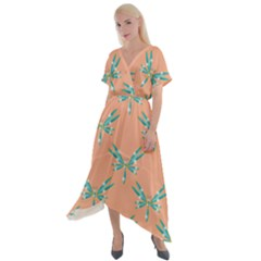 Turquoise Dragonfly Insect Paper Cross Front Sharkbite Hem Maxi Dress