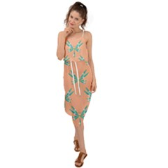 Turquoise Dragonfly Insect Paper Waist Tie Cover Up Chiffon Dress