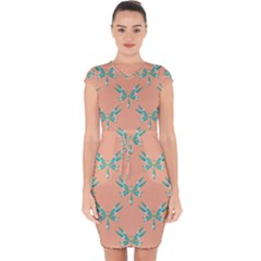 Turquoise Dragonfly Insect Paper Capsleeve Drawstring Dress