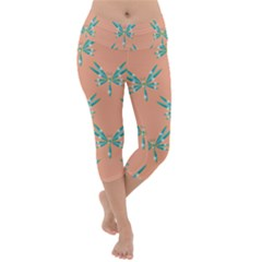 Turquoise Dragonfly Insect Paper Lightweight Velour Capri Yoga Leggings
