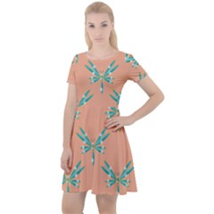 Turquoise Dragonfly Insect Paper Cap Sleeve Velour Dress