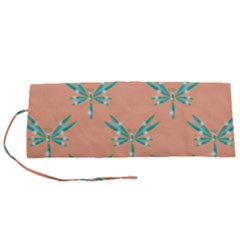 Turquoise Dragonfly Insect Paper Roll Up Canvas Pencil Holder (s)
