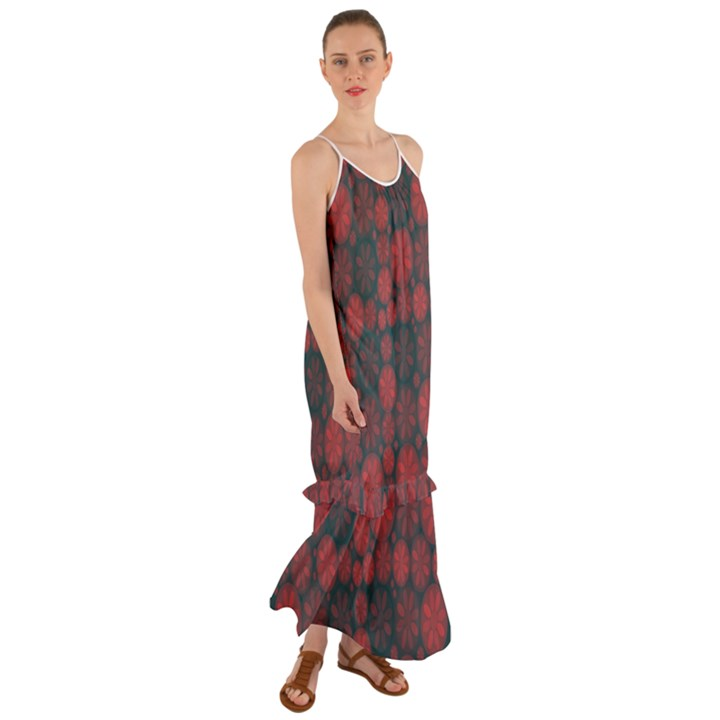 Zappwaits California Cami Maxi Ruffle Chiffon Dress