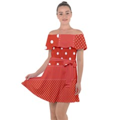 Polka Dots Two Times Off Shoulder Velour Dress by impacteesstreetwearten